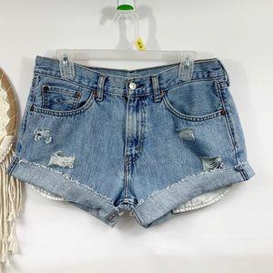 Levi's vintage distressed mom jeans shorts